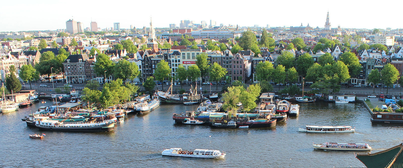 An Amsterdam Panorama - the city from afar with water, land, boats, buildings and trees.