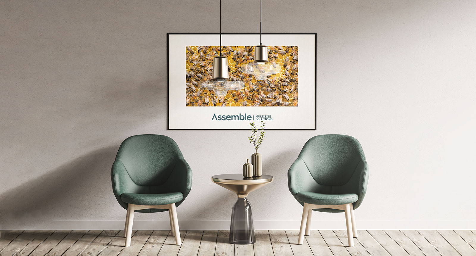 A well designed room featuring a large piece of wall art featuring a bee hive and the Pivale Assemble: Multisite Solutions branding.