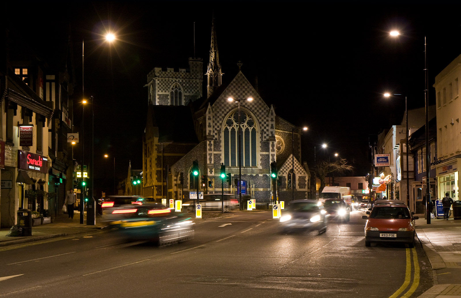 St. John The Baptist Church in Barnet at night-time.