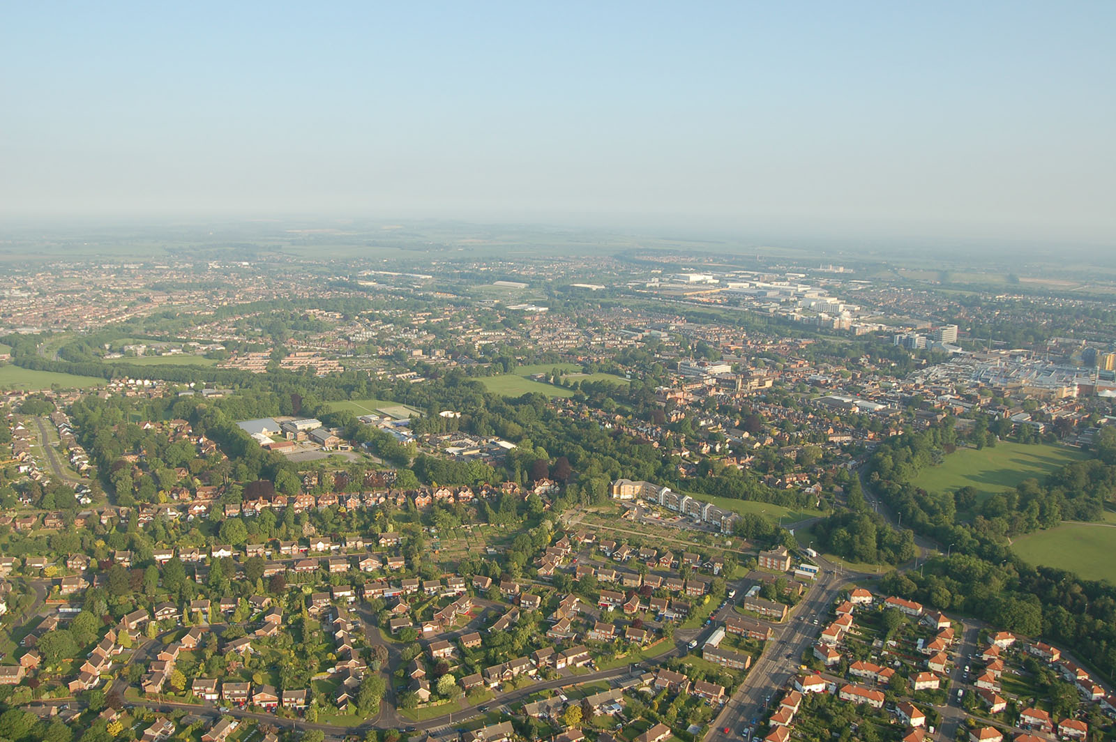 An aerial photograph of Basingstoke.