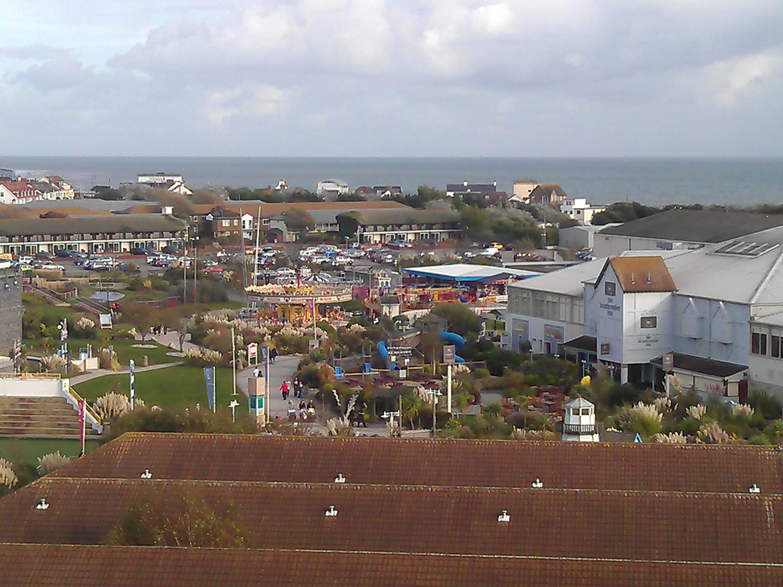 Bognor Regis Butlins funfair as seen from the air.