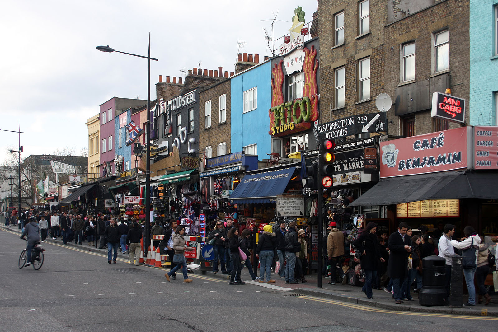A famous bustling street in Camden's shopping centre.