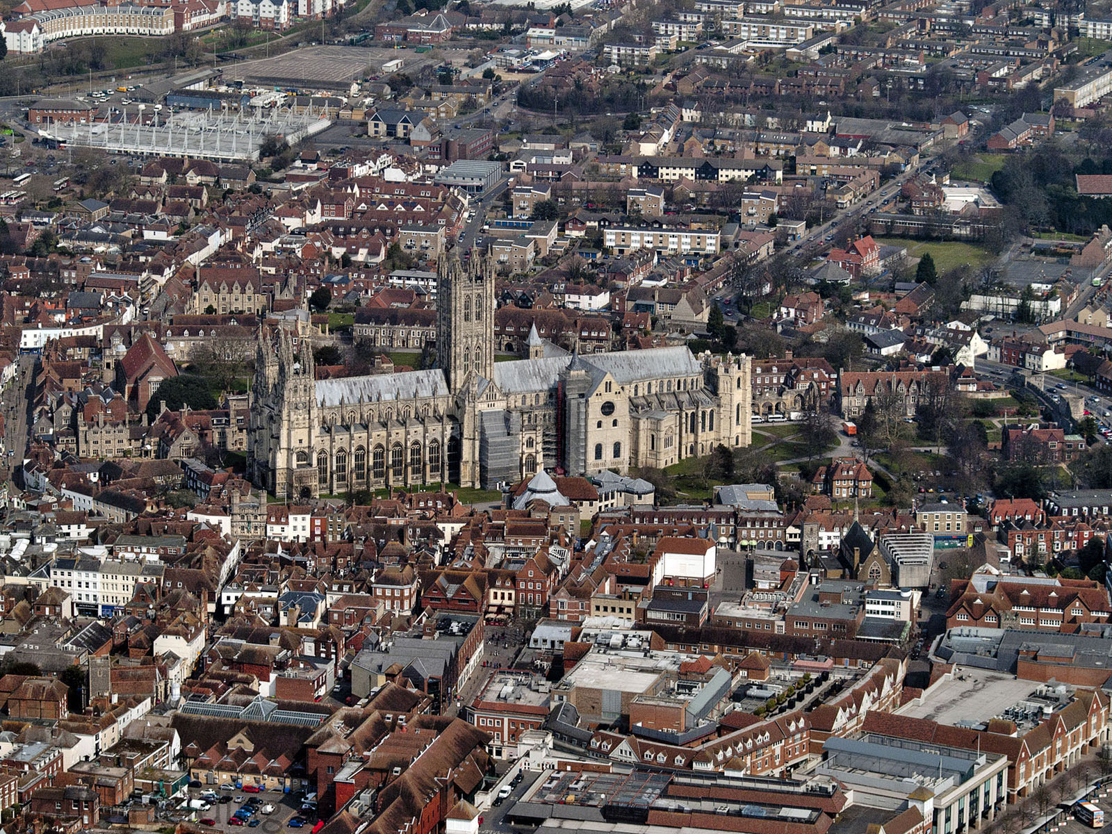 Canterbury cathedral and its surroundings shot from the air.