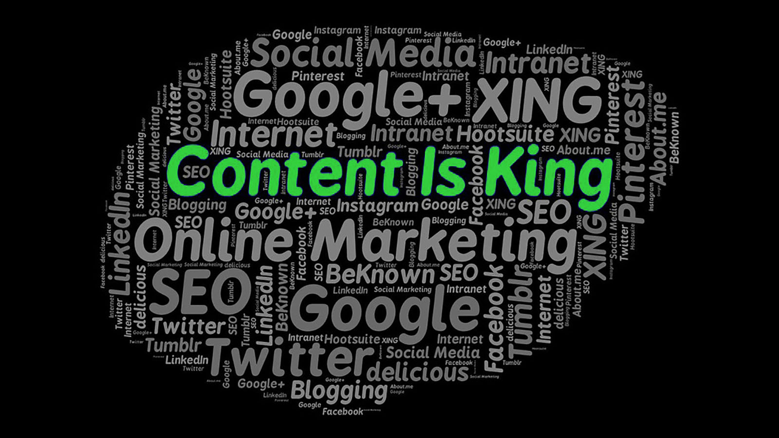 A word cloud containing many key words to do with content. In the centre in a more prominent format are the words: 'Content is King'.