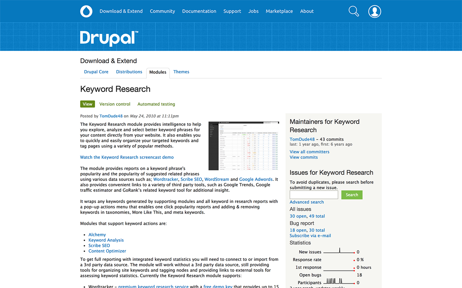 Drupal keyword research module screenshot.