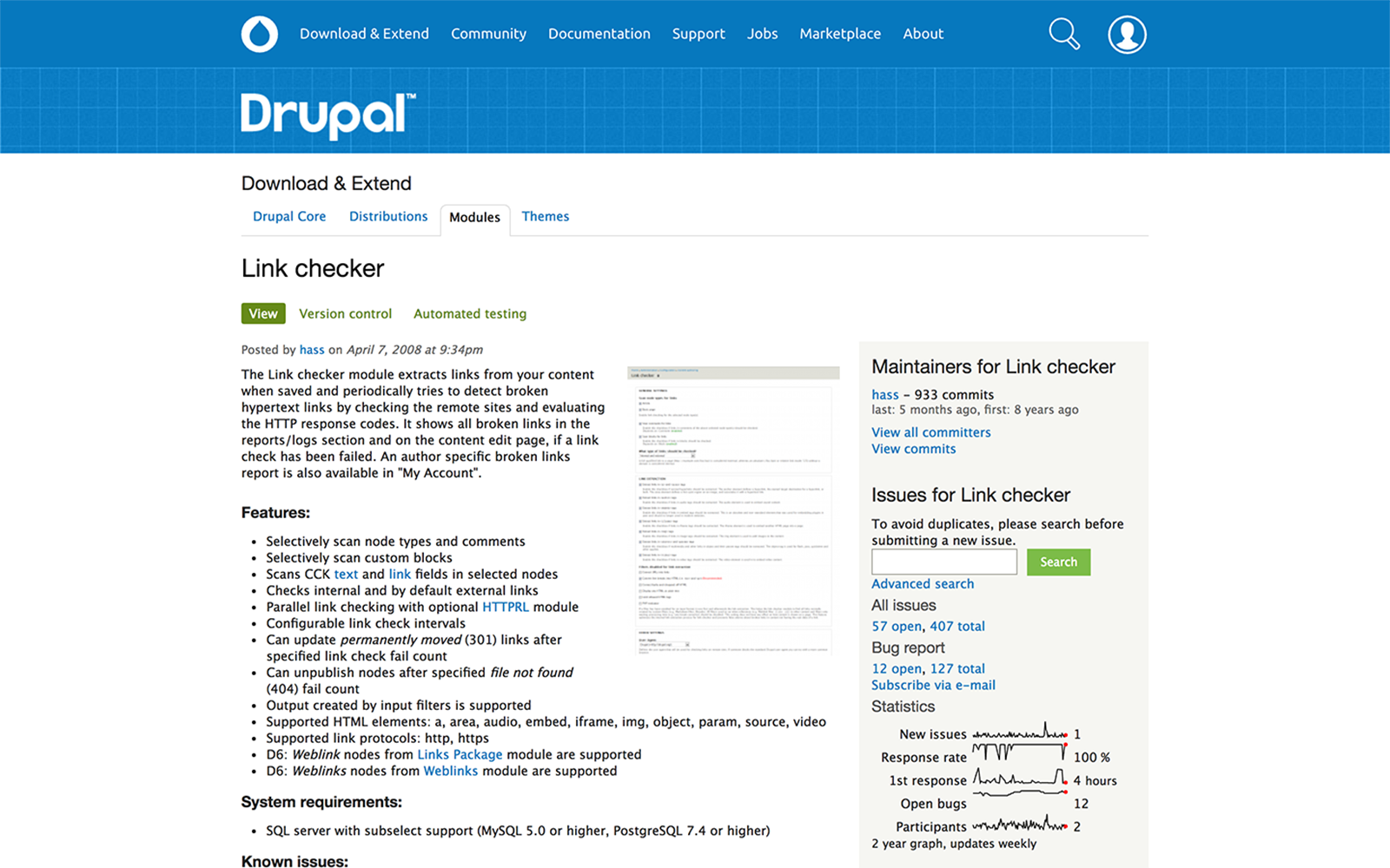 Drupal link checker module screenshot.