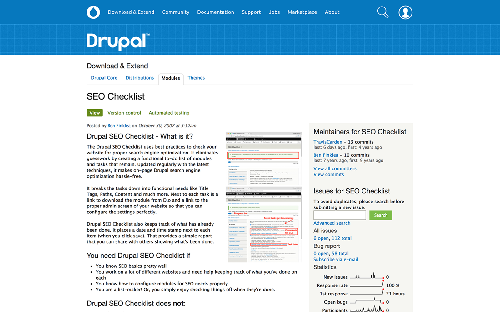 Drupal SEO checklist module screenshot.