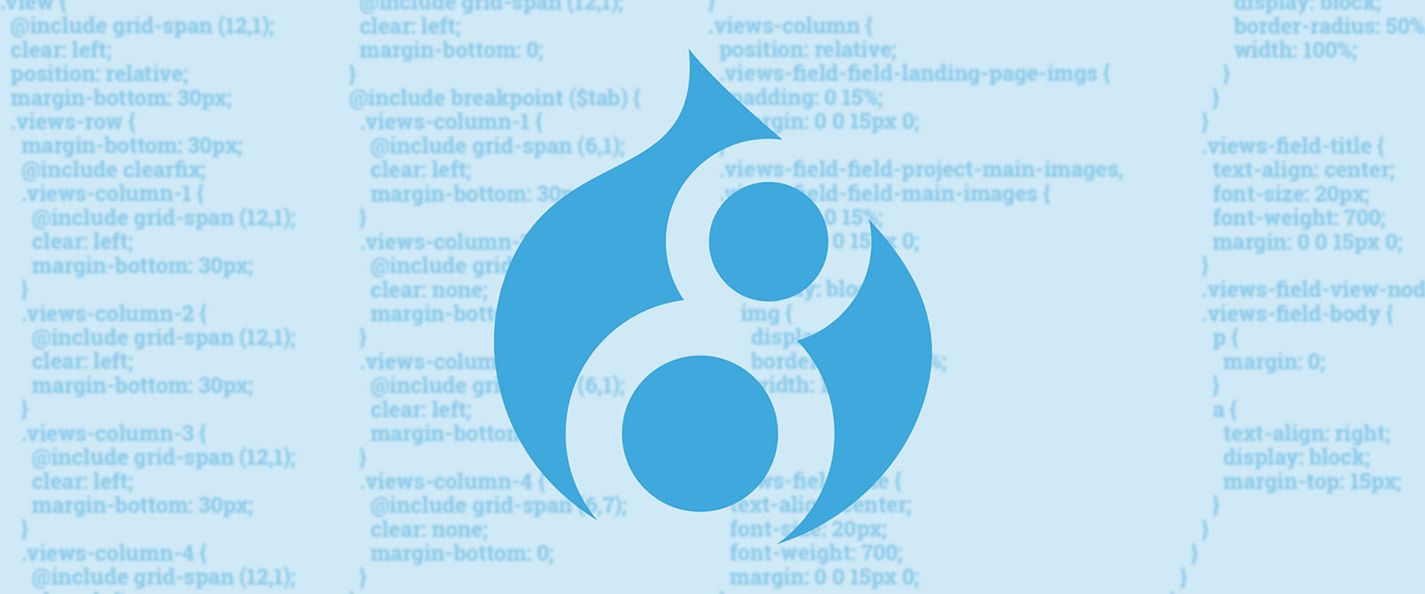 The drupal 8 logo on a blue background with some obscured lines of code.