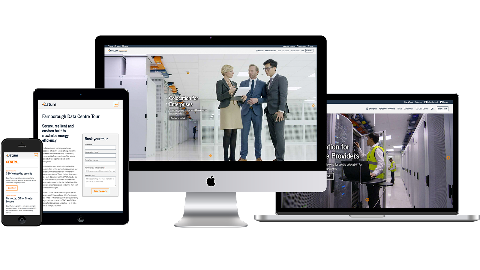 Datum Datacentres: Company Website on an Apple iMac, a MacBook, an iPad and an iPhone.