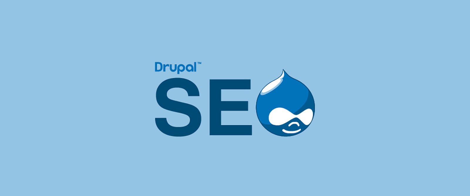 Drupal SEO - the Drupal logo and the word 'SEO' with the 'O' replaced by the Drupal icon (druplicon).