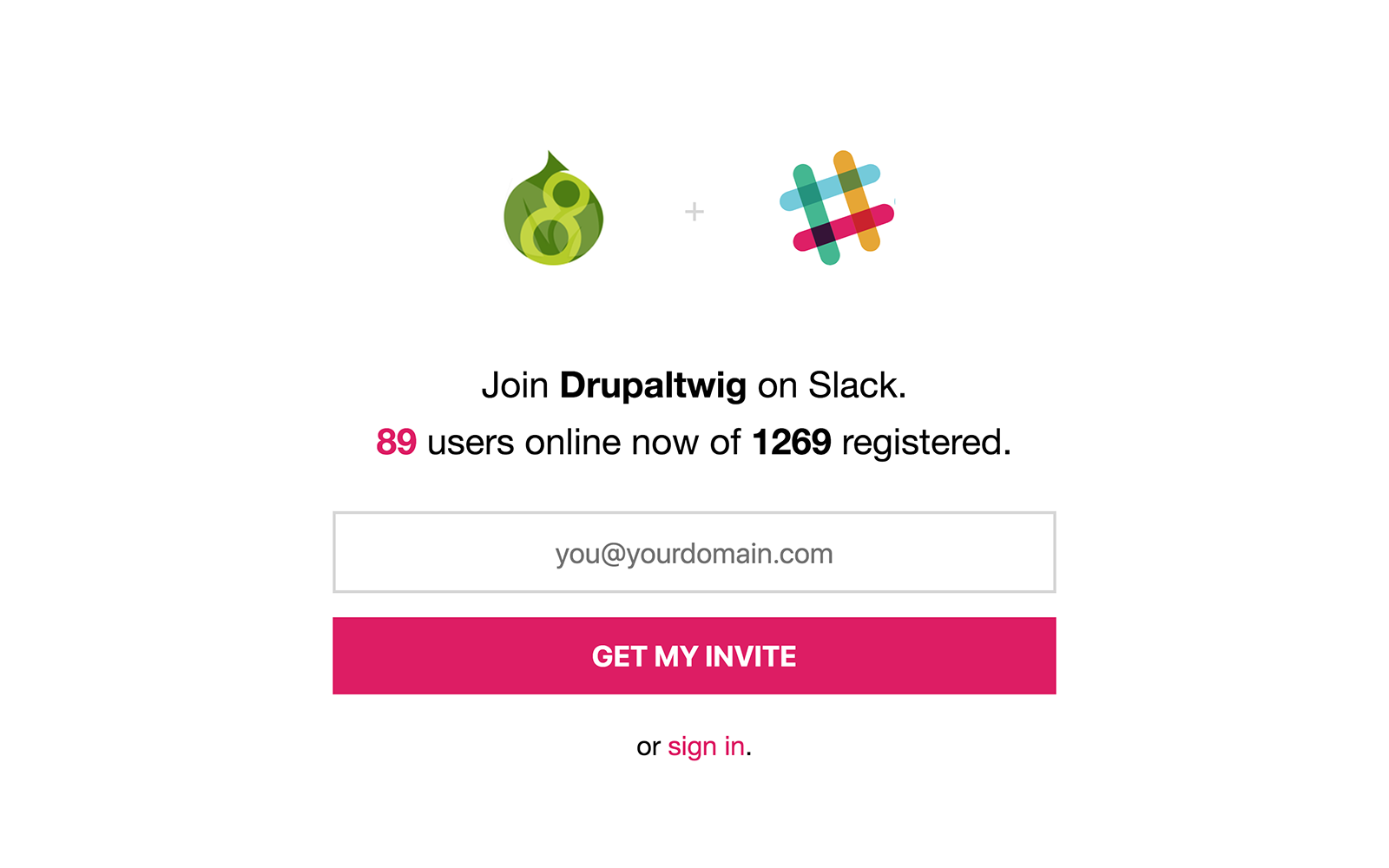 The sign up screen for Drupaltwig on Slack.