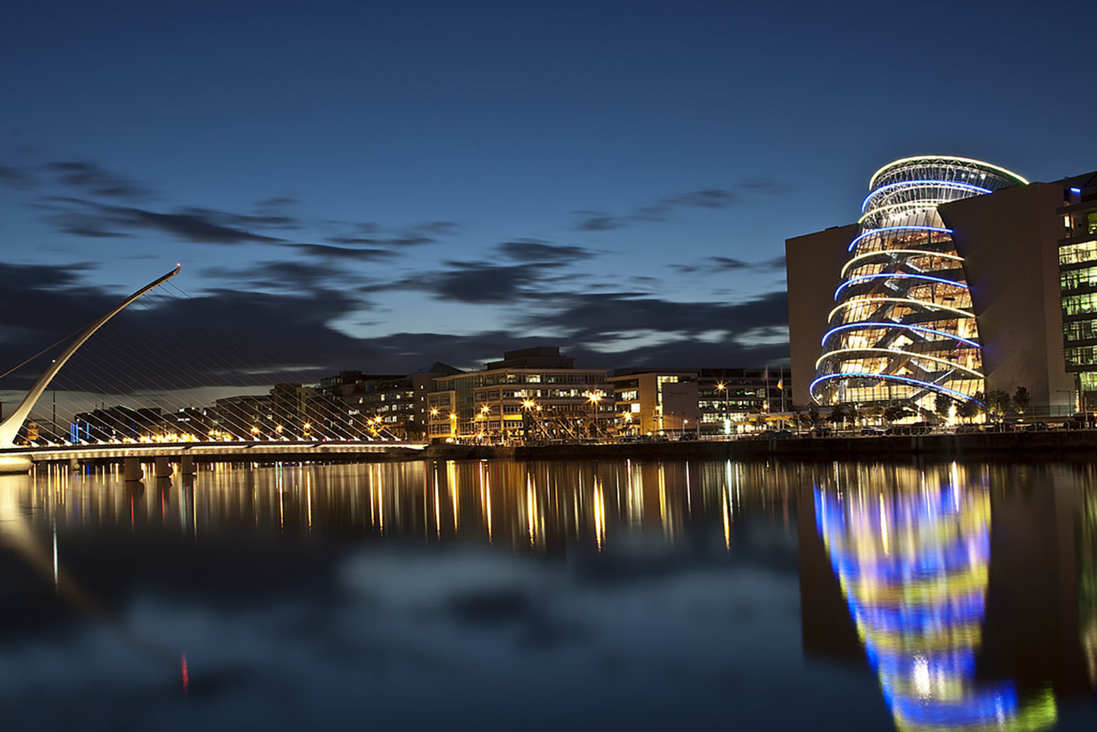 The Convention Centre Dublin (CCD) - a large glass cylindrical building situated on Dublin's River Liffey.