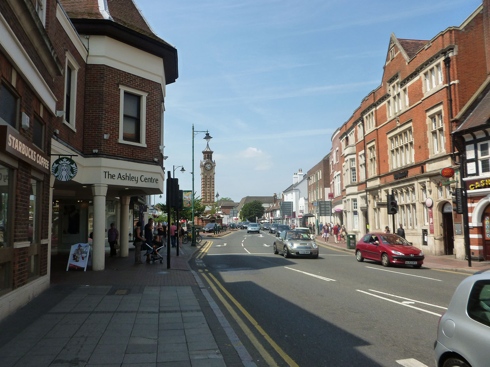 Epsom High street with the Ashley Centre and Epsom Clock Tower.