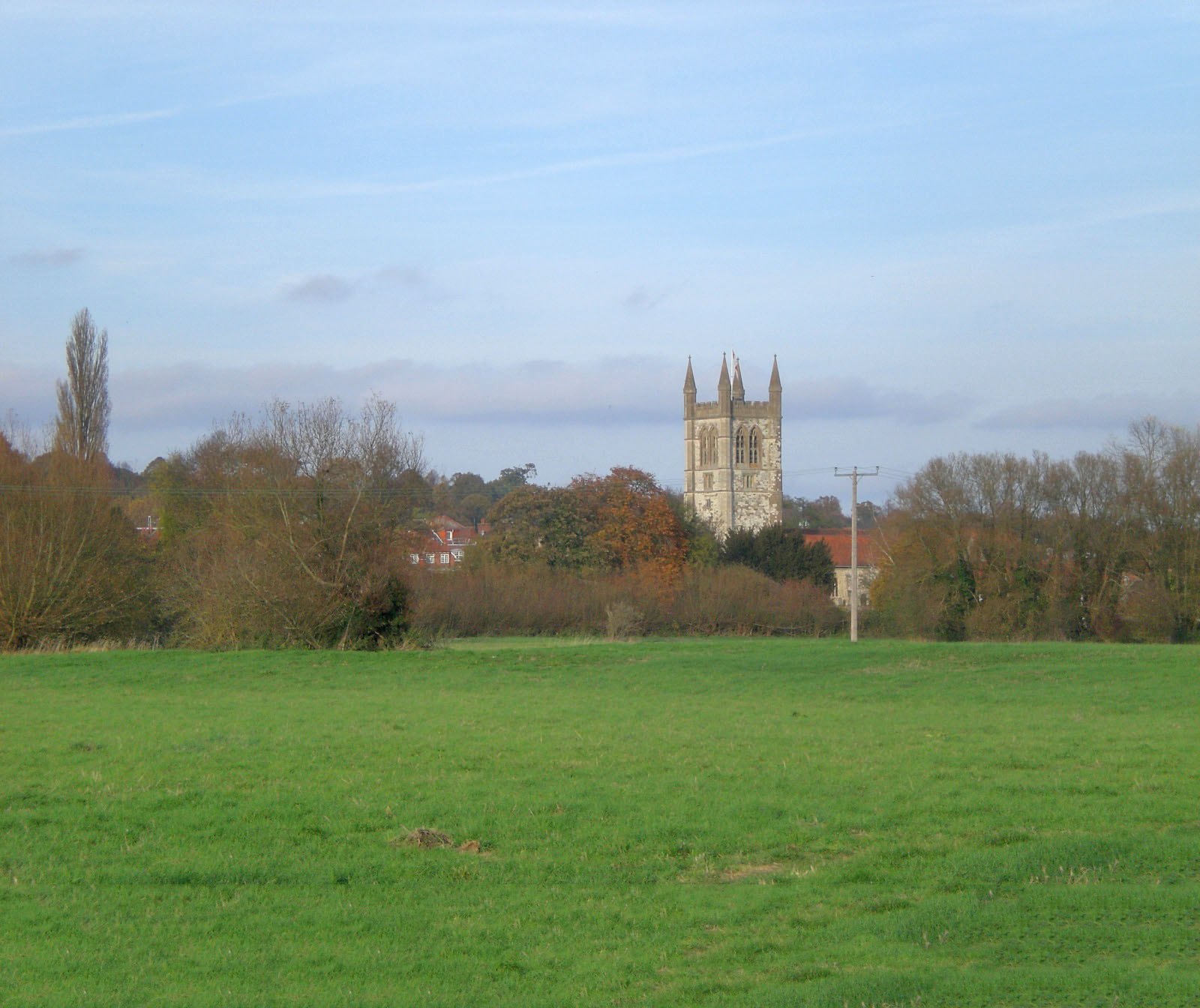 St Andrew's Church as seen from Bishop's Meadow in Farnham.