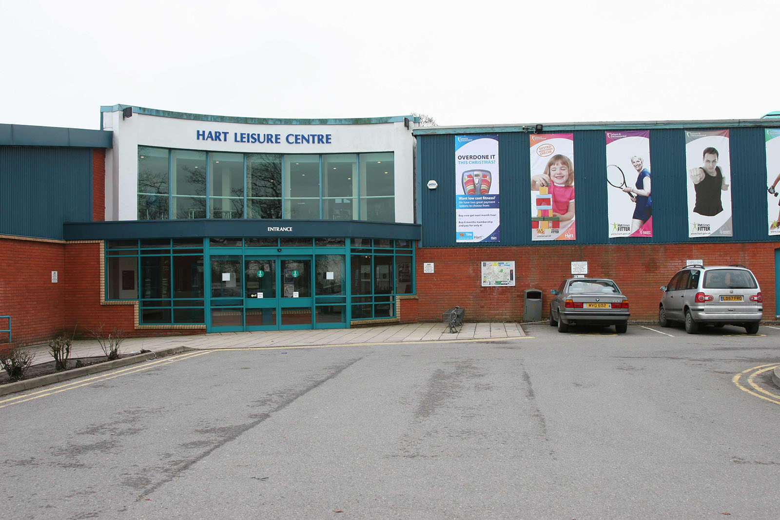 Entrance to Hart Leisure Centre, in the north of the square.