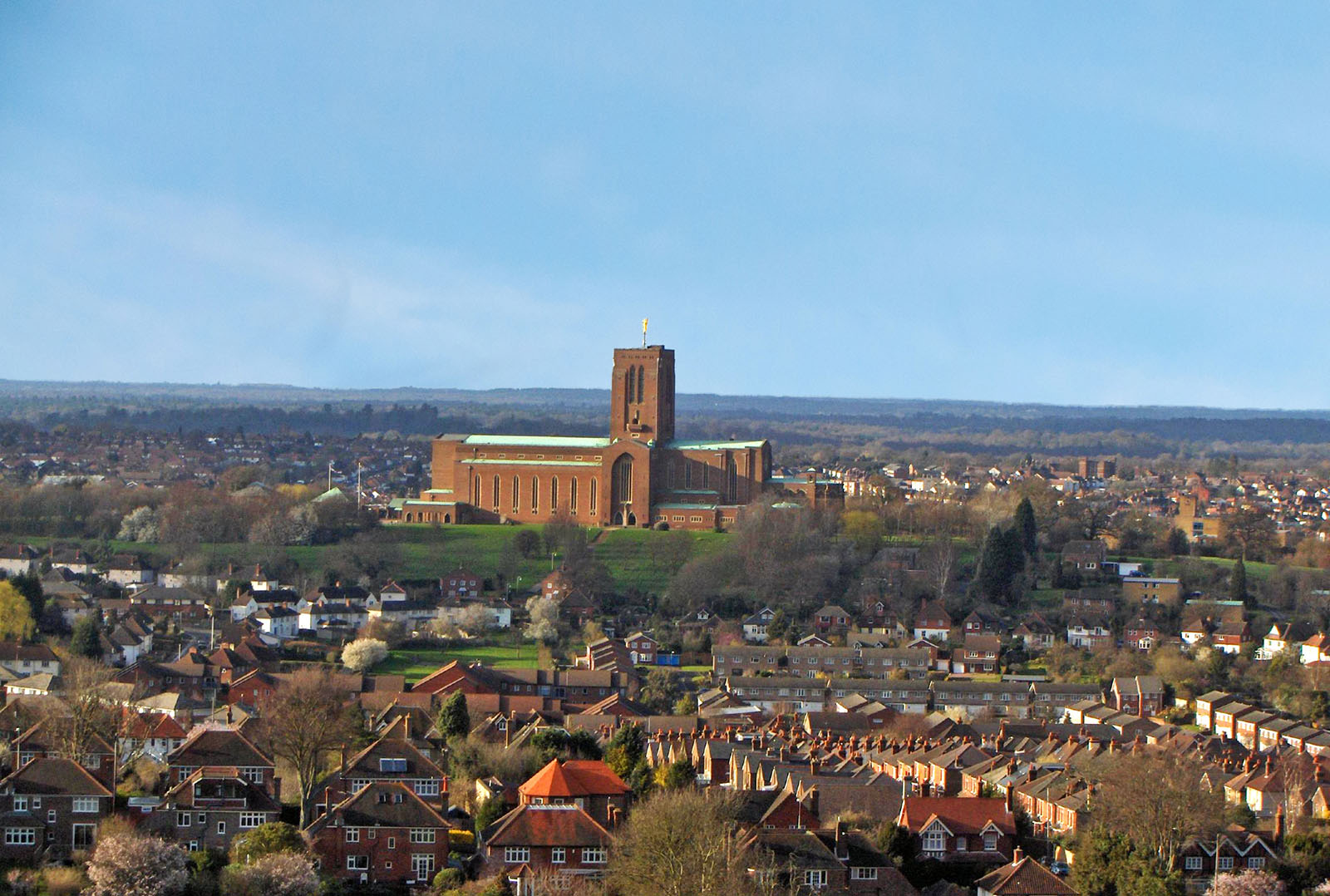 Guildford Cathedral and it's surroundings shot from a height.