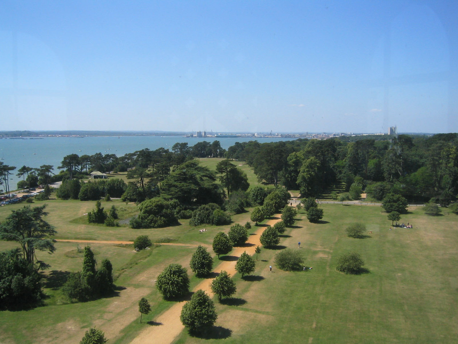 View from Netley Hospital chapel tower, in the Royal Victoria Country Park, Netley, Hampshire, UK. Looking north-west across the park, up Southampton Water, towards Southampton.