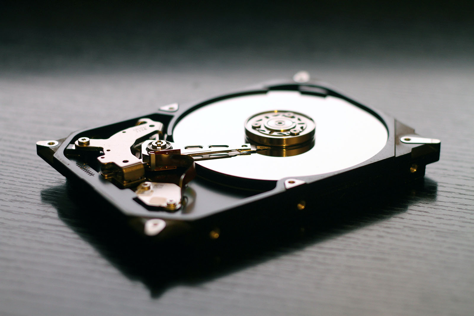 A close up of a hard disk drive.