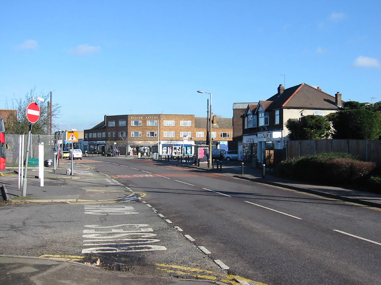 Willow Parade and shops on Front Lane, in Cranham, Havering.