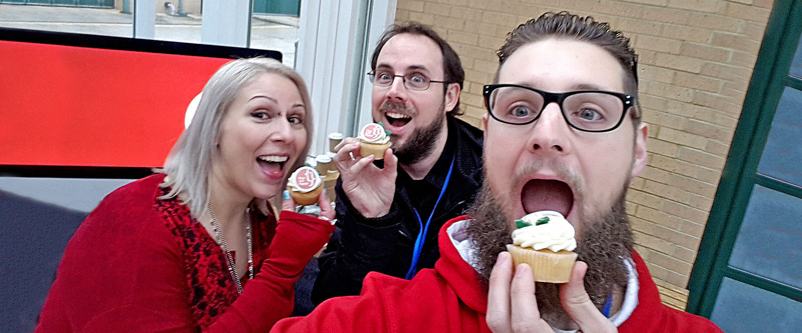 LTR: Julia, Barry and Darren eating Real Life Digital branded cup cakes.