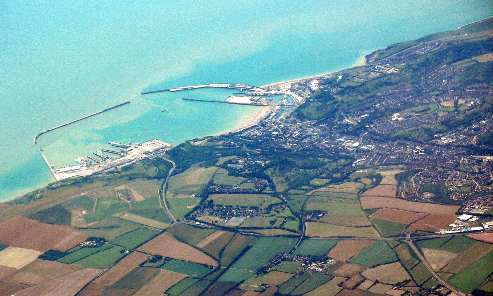 Dover as seen from a plane travelling in Southeast direction.