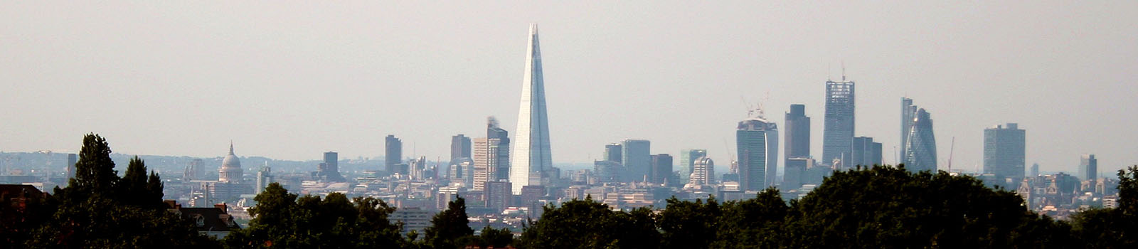 The London skyline viewed from the Horniman Museum in July 2013.