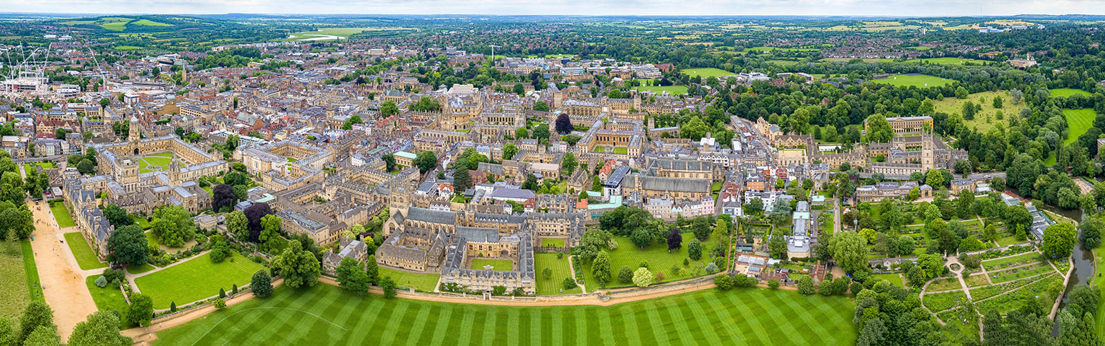 Aerial panorama of Oxford.