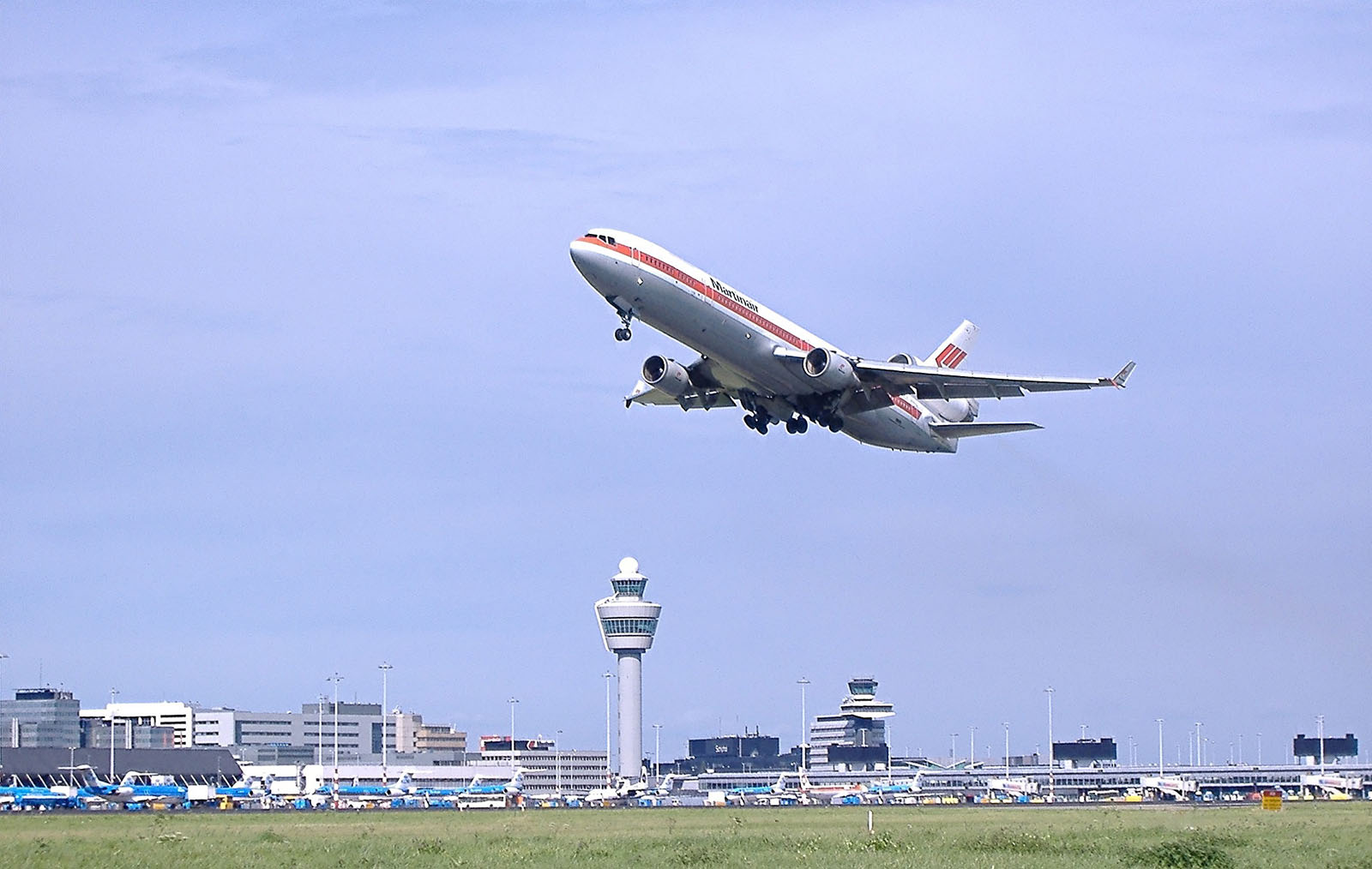 An aeroplane taking off from Schiphol airport in Amsterdam.
