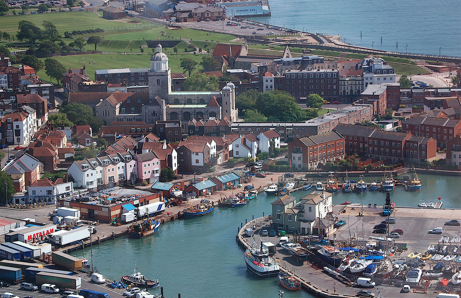 Old Portsmouth as seen from the Spinnaker Tower toward Portsmouth Cathedral and Southsea.