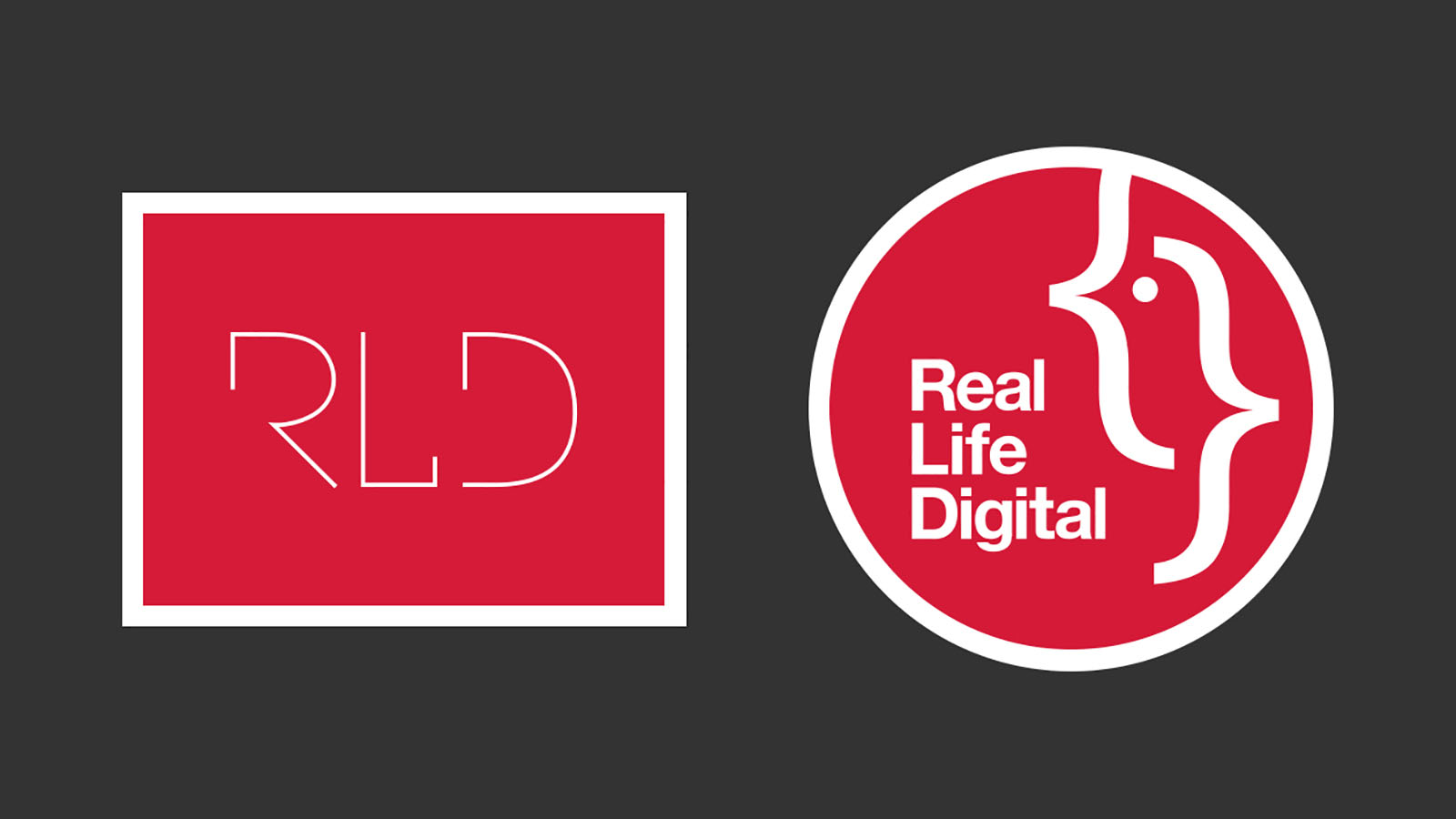 The old 'RLD' Real Life Design logo next to the new circular Real Life Digital logo on a dark grey background.