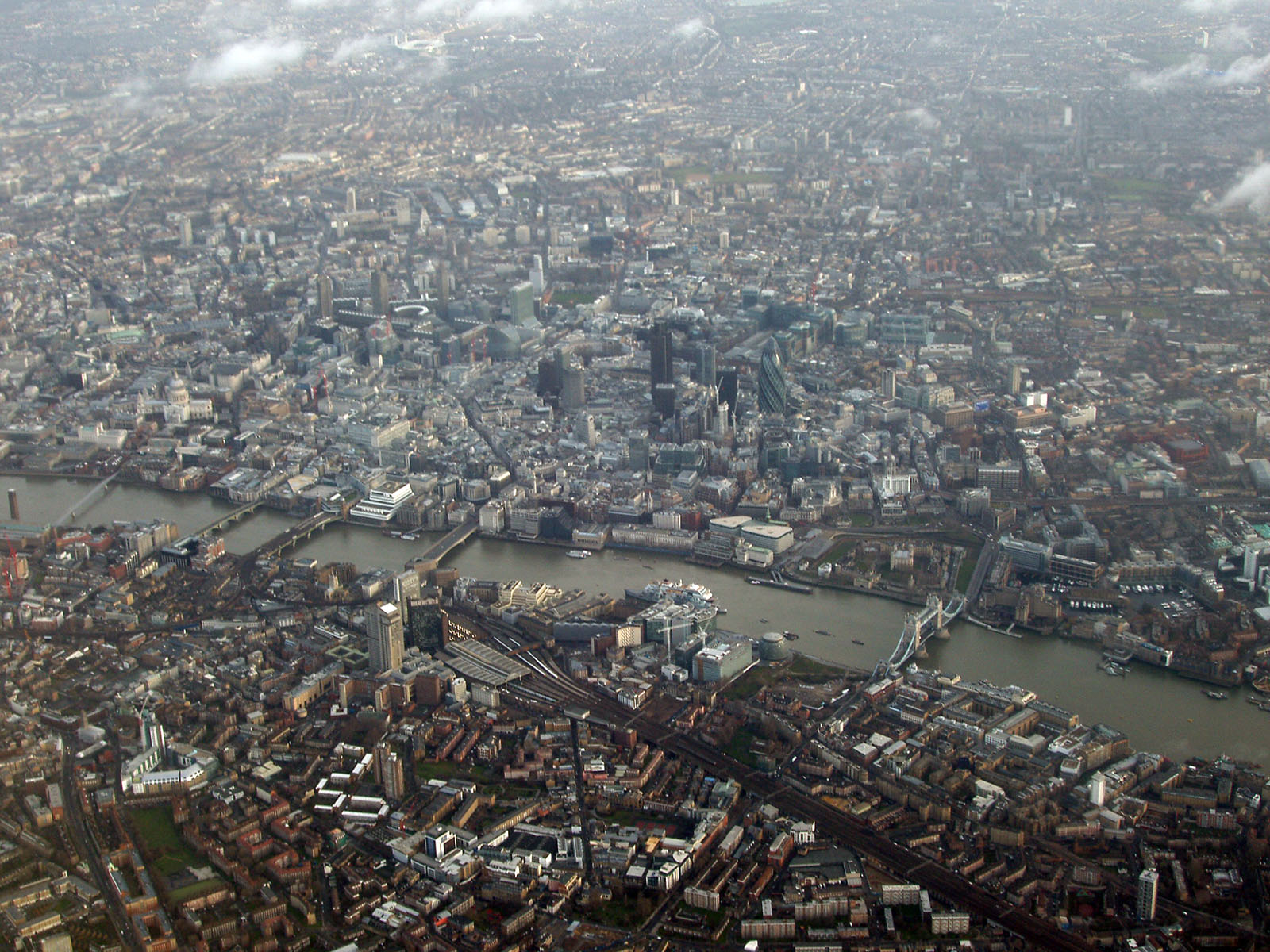 Aerial photo of Southwark, London showing Tower Bridge and the Tower of London, London Bridge, The Gherkin and many more famous landmarks.