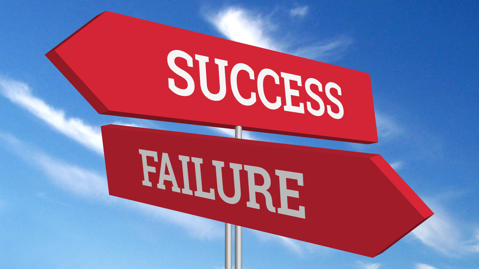 Two road signs - one pointing to success and the other pointing to failure.
