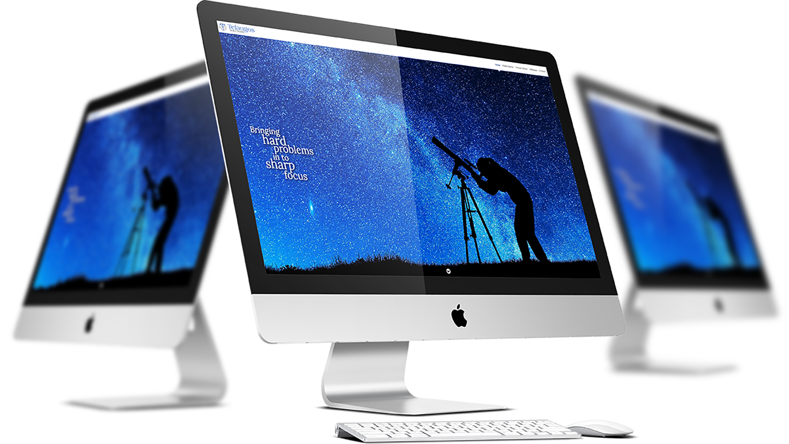 Telaugos Solutions: Company Website Home page on 3 Apple iMacs.