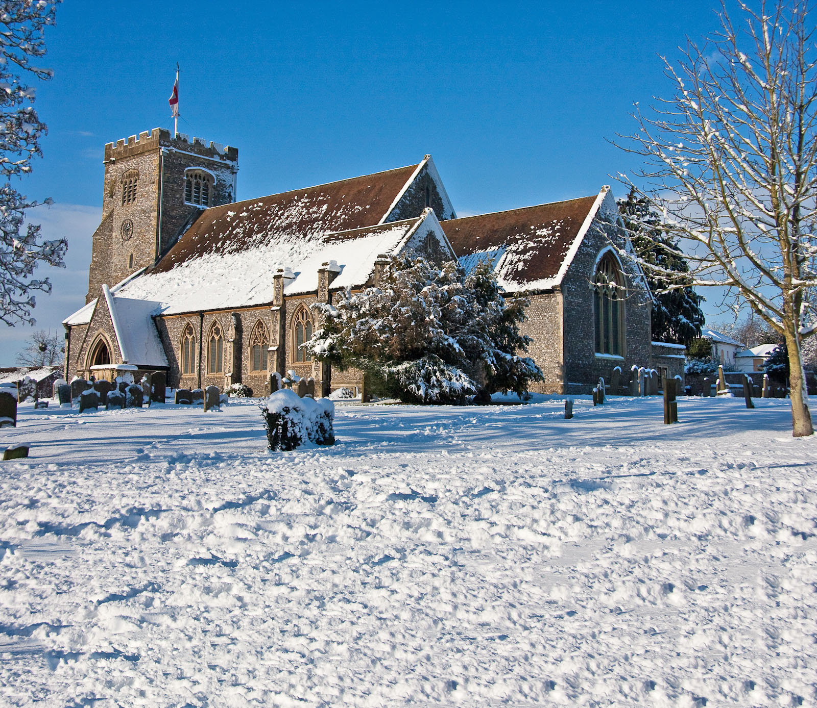 Church of England parish church of St Mary in Thatcham during a heavy snowfall.