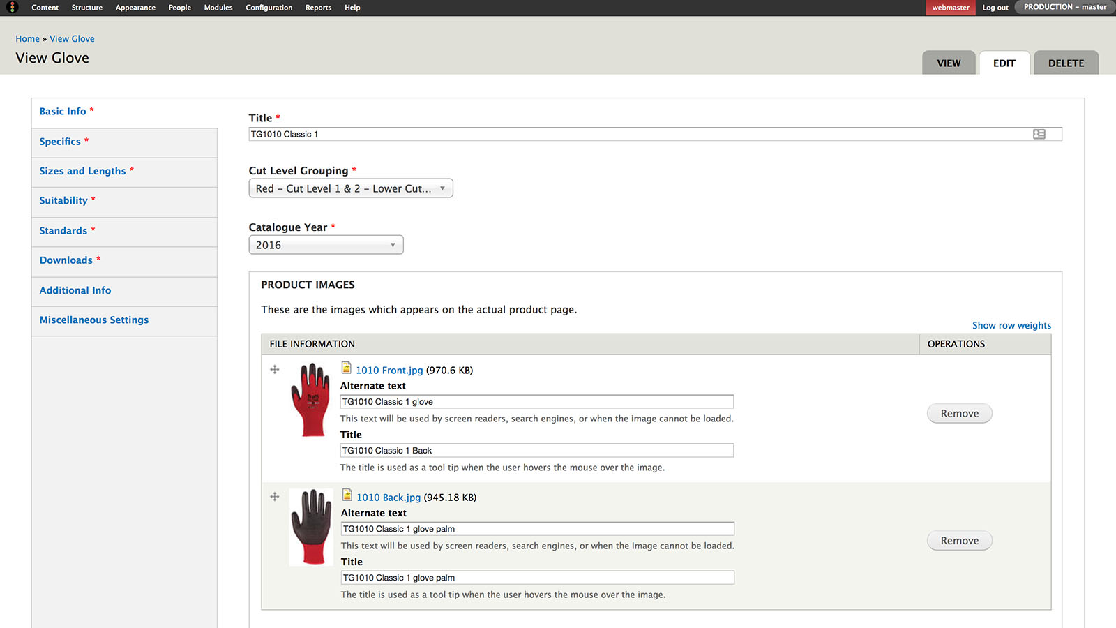 A view of the Drupal content management system for adding a glove to the TraffiGlove website.
