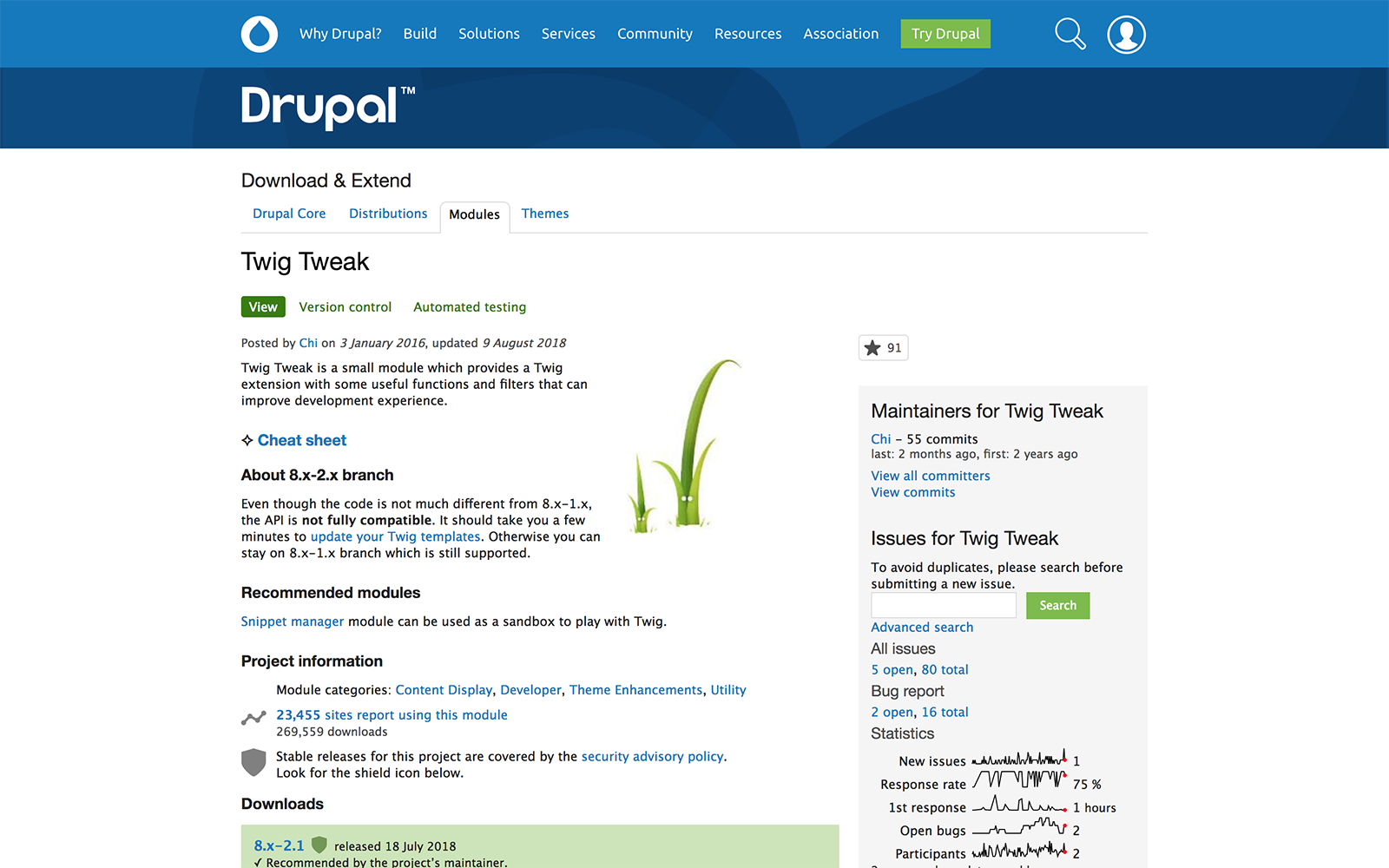 The Drupal splash page for the Twig Tweak module.