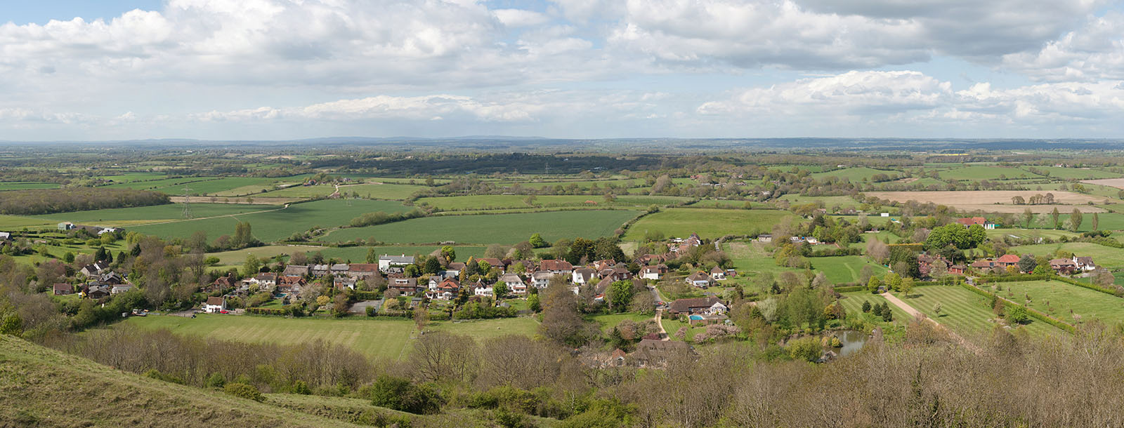 The village of Fulking and surrounds in West Sussex, England, viewed from Devil's Dyke.