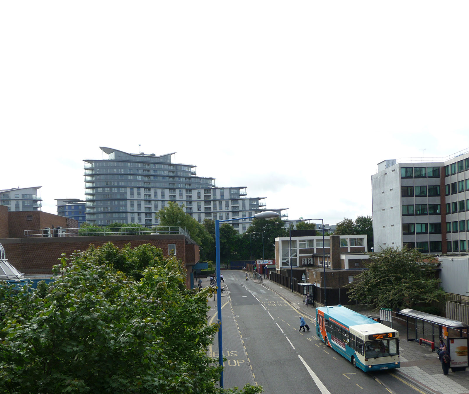 Looking out over Woking's recognisable modern apartments from Cawsey Way.