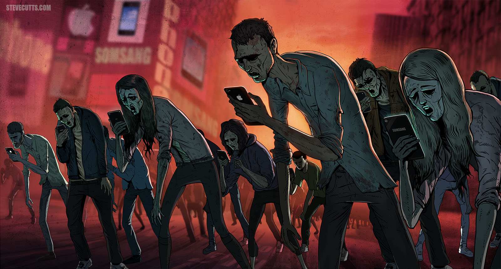 Social Media Zombies - Image by Steve Cutts - a crowd of zombies wandering aimlessly whilst looking at smart phones.